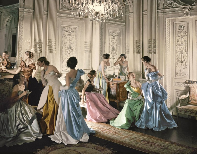 Eight models wearing Charles James gowns, in French & Company's