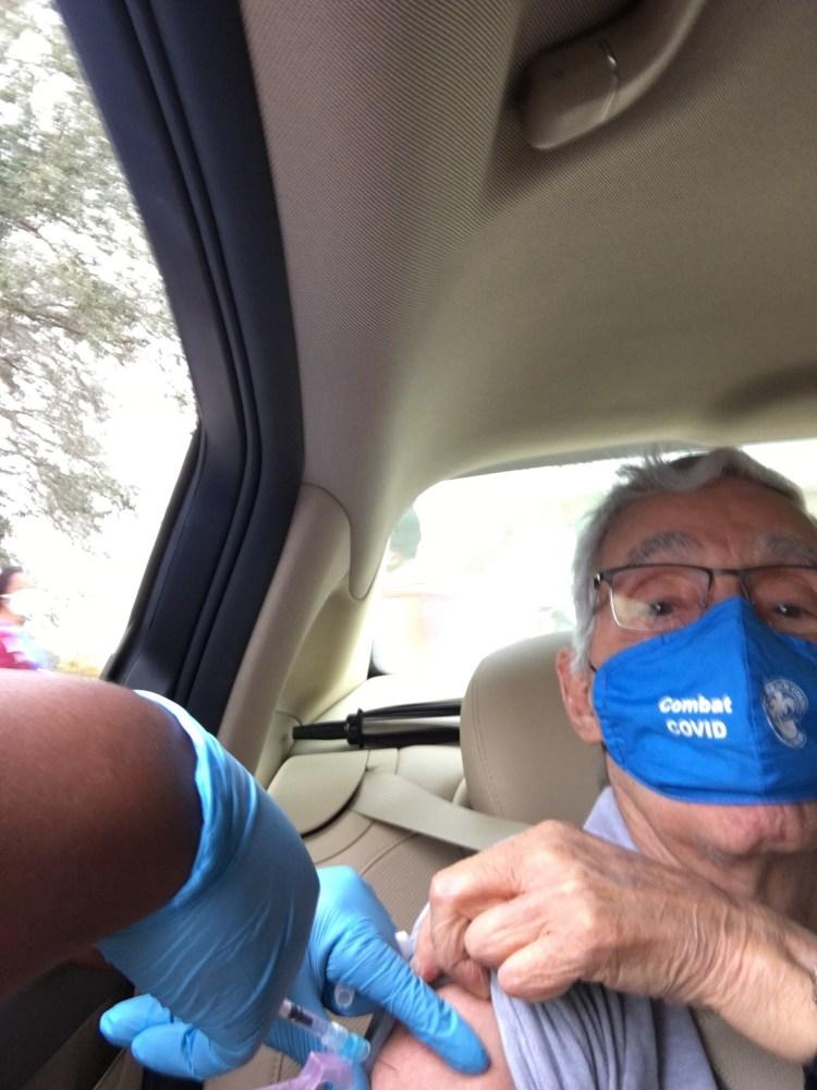 Dad receiving Vaccine