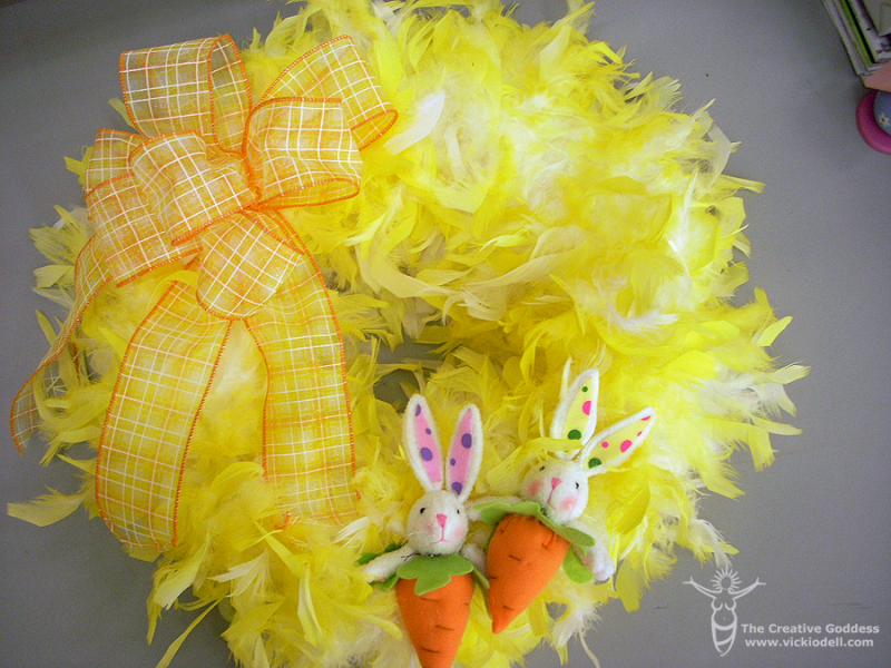 How to Make an Easter Wreath with Yellow Feathers