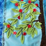 Apple Trees Gratitude Flag – Mixed Media Fabric Collage