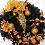 An Easy to Make Halloween Wreath with Orange Christmas Ornaments