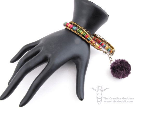 Bohemian Pom Pom Bracelet with the PattieWack PomPom Tool