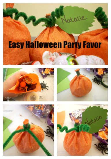 Halloween Crafts - Crepe Paper Pumpkin Treat Holders