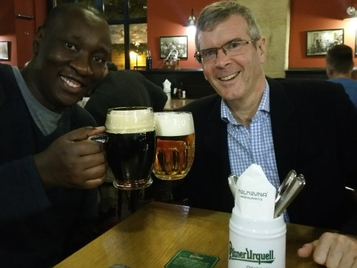 Ross and his Kenyan colleague John enjoy their Czech beers!