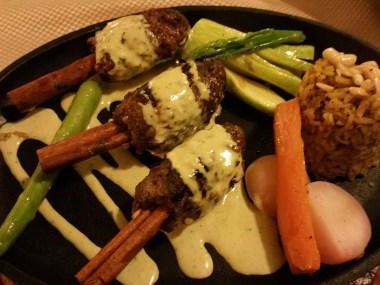 Kebabs on cinnamon stick - but too salty