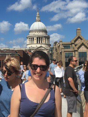 Me in front of St.Paul's Cathedral, taken on the wobbly bridge