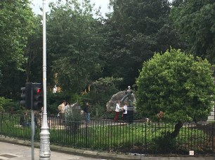 The Oscar Wilde memorial sculpture on Merrion Square