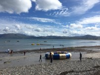 The activity beach: paddle boats, water trampolines and canoe