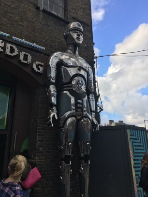 A futuristic Statue outside of Cyberdog