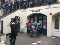 Musicians in the busking corner in Covent Garden