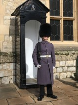 One of the Soldiers in front of the Waterloo Barracks to keep the Crown Jewels safe