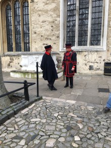 Two Yeoman Warders standing in front of the Chapel