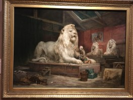 Sir Edwin Henry Landseer by John Ballantyne - the Lions in the painting are the original ones from Trafalgar Square
