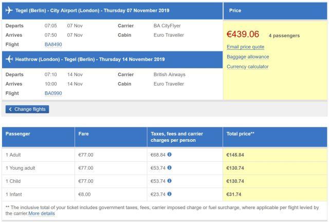 British Airways: Baby 10%, Kinder 75% vom Erwachsenen-Flugpreis