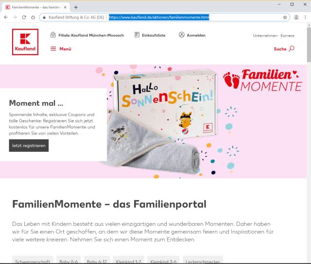 "Familienportal ""FamilienMomente"" von Kaufland"
