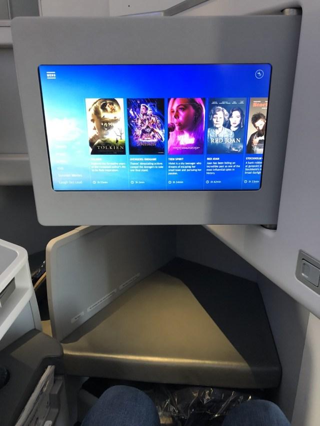 Finnair Business Class Airbus A350 Entertainment Screen.