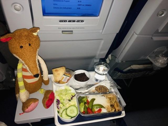 Abendessen in der Lufthansa Airbus A380 Economy Class