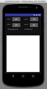 A view of the operational screen of the LED SSH app.