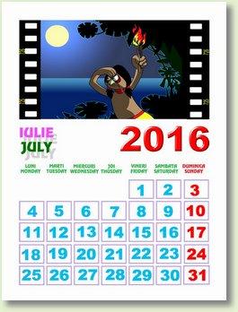 calendar iulie 2016