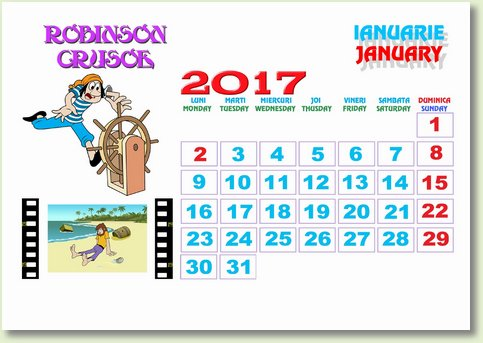 Calendar Ianuarie 2017