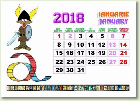 calendar ianuarie 2018