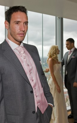 Medium Grey Informal Jacket, Medium Grey Trousers, Prestbury Pink Waistcoat, Pink Scrunch Tie and Handkerchief