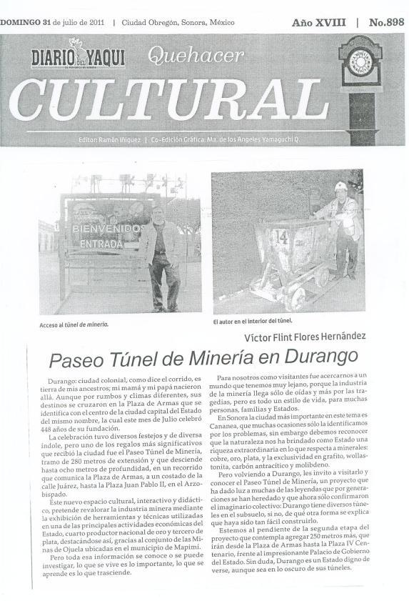 Nota en Quehacer Cultural: Paseo Túnel de Minería en Durango, Dgo.