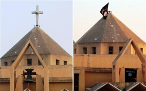 """Church in Raqqa, Syria, before and after: cross and church bell are now replaced with Islam's black flags proclaiming """"There is no god but Allah and Muhammad is his messenger."""""""