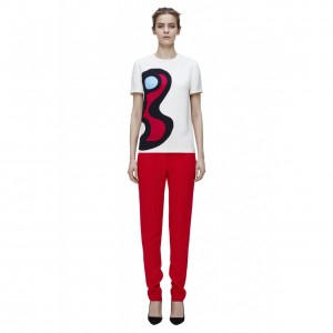 Victoria Beckham Round Neck Print T-Shirt as seen on Victoria Beckham