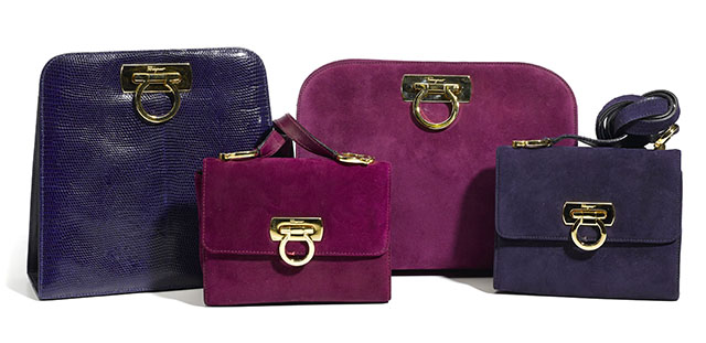 Salvatore Ferragamo Purple Lizard and Velvet Bags