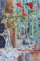 Red Roses in Blue Glass Vase 2015
