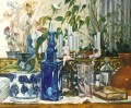 Candelabro with Glass Bottles