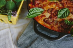Cast Iron Skillet Pizza with Andouille Sausage