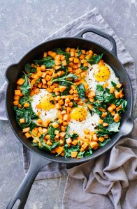 Cast Iron Skillet Sweet Potato and Kale Hash Brundh by @jaroflemons