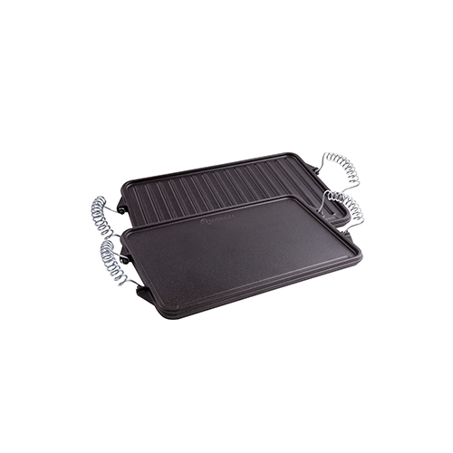 """Cast Iron Reversible Griddle with Removable Handles 13""""x 8.3"""""""