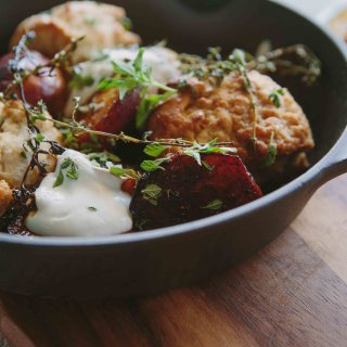 Buttermilk Drop Biscuits Skillet with Thyme Maple Syrup Glazed Peaches