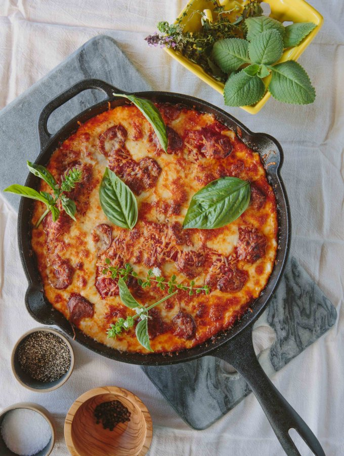 Cast Iron Deep Dish Pizza with Andouille Sausage