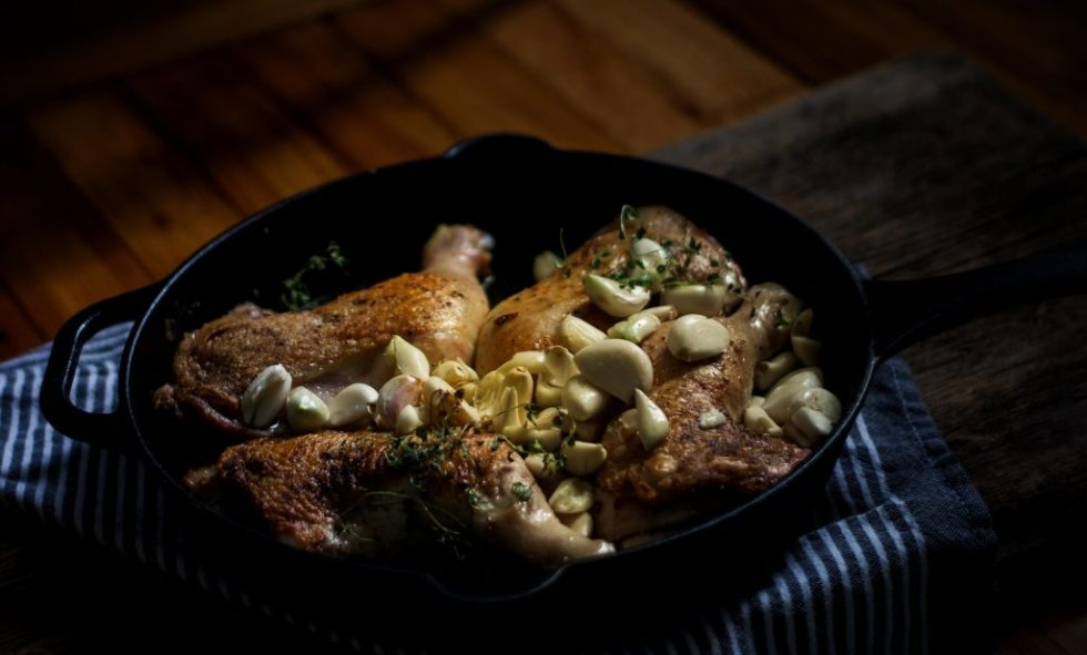 Cast Iron Oven Roasted Garlic Chicken Thighs