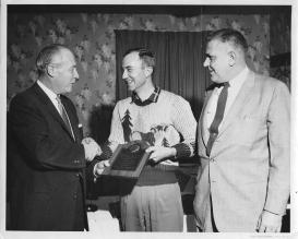Pop-Pop receives an award from Shell Oil Company for five years of valued business association, 1958. (My family and I like to laugh at his choice of dress for the occasion.)