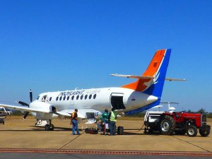 One of Proflight Zambia's Jetstream 41 aircraft being loaded in preparation for flight