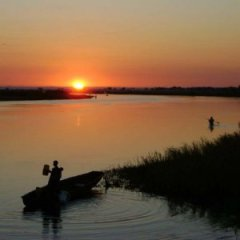 Local fisherman on the Kafue River in Zambia