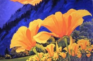 Blue Mountain Poppies 48x36