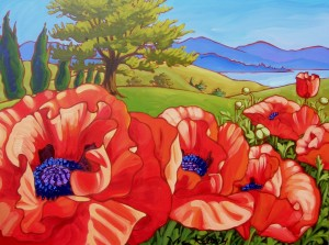 Red Poppies by Lake 48x36