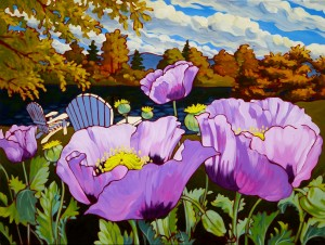 Purple Poppies With Chair 48x36