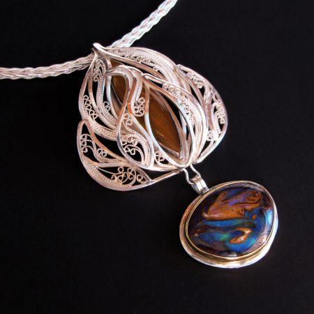 Egyptian Lily, Russian filigree pendant on a Roman chain