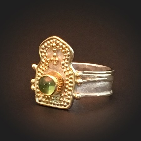 Casablanca VII, 18k granulation on sterling ring with peridot