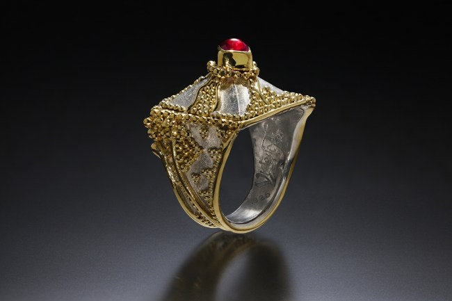 Majestic, Eastern repousse, gold granulation ring by Victoria Lansford; photo by Pat Vasquez-Cunningham