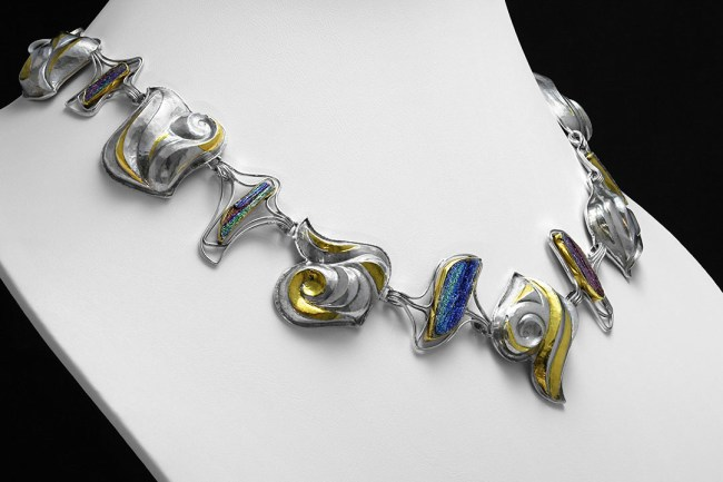 Rumi's Luminous Confections, Eastern repousse and keum boo necklace; photo by Pat Vasquez-Cunningham