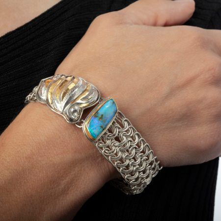 Indira, Eastern Repousse and Side Weave Mesh bracelet by Victoria Lansford; photo by Pat Vasquez-Cunningham