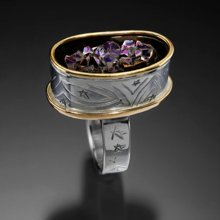 Arc, chased druzy ring by Victoria Lansford; photo by Pat Vasquez-Cunningham
